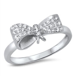 Bow Ribbon Gift Clear Cz Cute Ring New .925 Sterling Silver Band Sizes 4-10