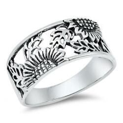 Sterling Silver Womanand039s Sunflower Ring Flower 925 Wide Band 14mm Sizes 5-10