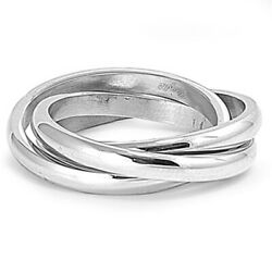 Men's Woman's Triple Ring Wholesale Stainless Steel Band New Usa 3mm Sizes 5-12