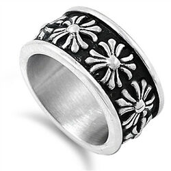 Women's Iron Cross Flower Ring New 316l Stainless Steel Fashion Band Sizes 7-15