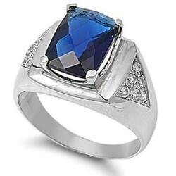 Woman's Blue Sapphire Cz Ring Polished Stainless Steel Band New 16mm Sizes 8-14