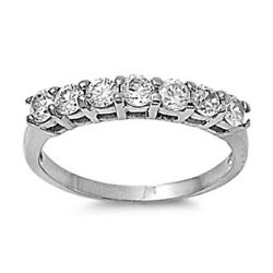 White Clear Cz Ring Fashion Polished Stainless Steel Band New 4mm Sizes 5-10
