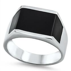 Men's Black Fashion Wholesale Ring New 316l Stainless Steel Band Sizes 7-13