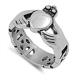 Claddagh Promise Ring New 316l Stainless Steel Celtic Heart Love Band Sizes 5-12