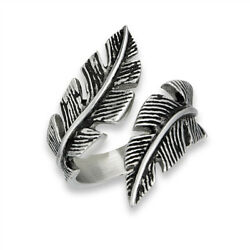 Open Criss Cross Feather Cute Ring New Stainless Steel Tree Leaf Band Sizes 7-10