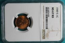 1949 S Ngc Ms67 Red Wheat Cent A9178
