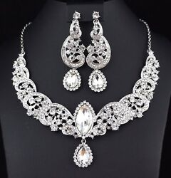 Wave Clear Crystal Rhinestone Statement Necklace Earrings Set Prom Pageant N32