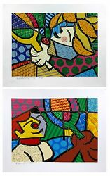Romero Britto Tennis Suite 1994   Rare Hand Embellished Prints   Make An Offer
