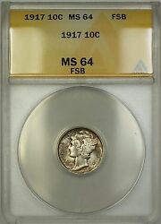 1917 Mercury Silver Dime 10c Coin Anacs Ms-64 Full Split Bands Toned Very Choice
