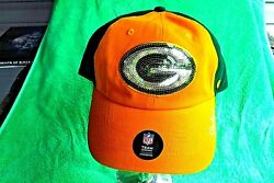 New Rare Oop Green Bay Packers '47 Clean Up Sequin Sparkle Women's Baseball Cap