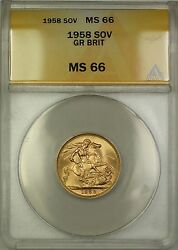 1958 Great Britain Sovereign Gold Coin Anacs Ms-66 Gem Bu C