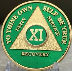 11 Year Aa Medallion Green Gold Plated Alcoholics Anonymous Sobriety Chip Coin