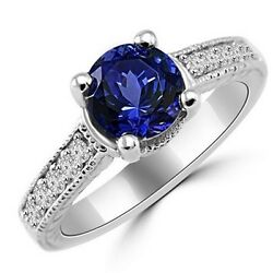 Fine Tanzanite And Diamond Engagement Ring 14k White Gold Vintage Antique Style