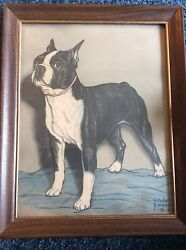 Vintage Gladys Emerson Cook Boston Terrier Dog Signed Print  Drawing 12X16