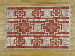 5and03910x8and03910 Pure Wool Handknotted Peshawar With Southwest Motifs Rug G36481