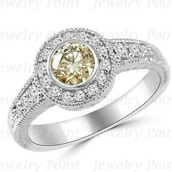 Champagne-brown Diamond Engagement Halo Ring 14k White Gold Vintage Antique