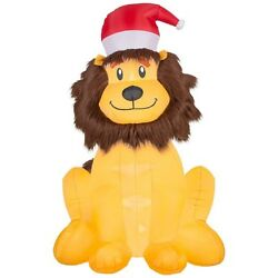 Christmas Inflatable Lion W/ Furry Mane And Santa Hat By Gemmy