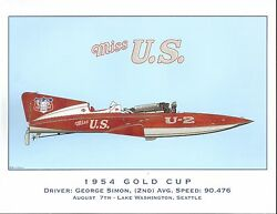 1954 Miss U.s. Gold Cup Champion Hydroplane Art Print - By R.j. Tully