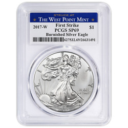 2017-w Burnished 1 American Silver Eagle Pcgs Sp69 First Strike West Point Labe