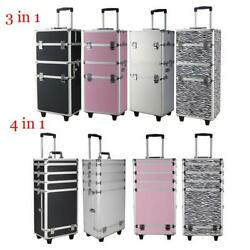 3 4 in1 Rolling Aluminum Makeup Case Cosmetic Train Box Wheeled Storage Lockable