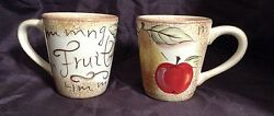 Table Tops Gallery Hand Painted Fruit Design Lot Of Two Coffee Tea Mugs Euc