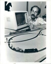 1987 Press Photo Princeton Professor With Toy Train For Computer Teaching