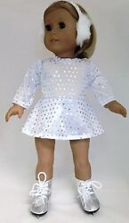 Doll Clothes for 18 inch American Girl White Sequin Skating Dress amp; Earmuffs $7.94