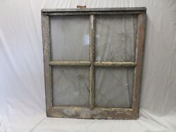 Antique Industrial Window Chicken Wire Factory Privacy Glass Vtg 42x37 241-17P