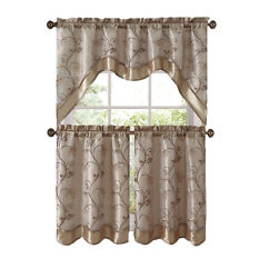 Vcny Home Audrey Complete 3 Piece Tier And Swag Kitchen Curtain Set - Beige/gold