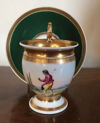 19th C. Antique French Empire Old Paris Porcelain Tea Cup And Saucer Gilt Green