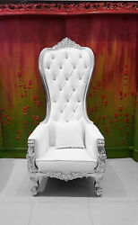 Chair - High Back Chair - Queen High Back Chair - White Leather W/ Silver Frame