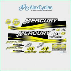 Mercury 40 Hp Outboard Replacement Yellow Laminated Decals Kit Set Marine Boat