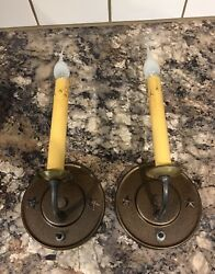 Beautiful Sconces Vintage Antique Wired Pair Electric Candles On Off Switch 8b
