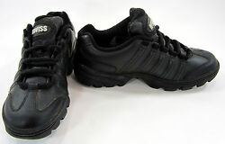 K-swiss Shoes Leather Running Trainers Black Sneakers Men 5.5 Womens 7.5
