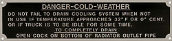 U.s. Army - Danger - Cold Weather Acid Etched Aluminum Data Plate