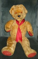 Vintage Unmarked Cuddly Jointed Toy Teddy Bear Mohair Red Canvas Paws 30h