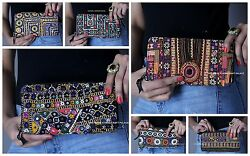 Lot Of 5 Vintage Clutch Banjara Bags Embroidery Indian Purse Wholesale Hand Bag