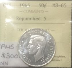 Canada 1945 Repunched 5 50 Cents Iccs Ms 65 Blast White Gem Rare