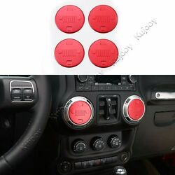4X Red Air Conditioner Outlet Vent Cover Trim Sticker for Jeep Wrangler 11-16