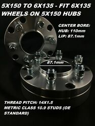 4pc 2 Inch Wheel Adapters   5x150 To 6x135 Hubcentric  14x1.5 Stud Spacers 50mm