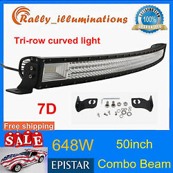 7d Tri-row 50inch 648w Curved Led Light Bar Driving Offroad Combo Drl Suv Pk 52