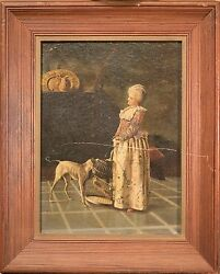 Antique Victorian Oil Painting, Woman With Parrot In Birdcage And Russell Terrier