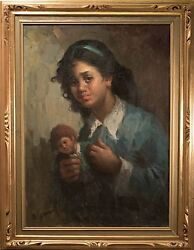 Alfonso Sarno Original Oil Painting On Canvas, Crying Girl W/ Doll Fine And Rare