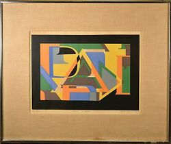 Modern Art Serigraph Letter Collage, Signed Marta Collection Of Spanish Art