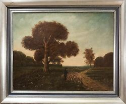 Stellar Antique Oil Painting, Signed American Landscape, Shepard W/ Dog, Nice
