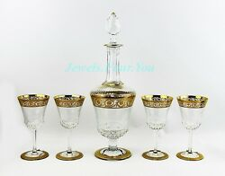 Saint St. Louis For Hermes Set Wine Decanter And 4 Glasses 24k Gold Thistle New