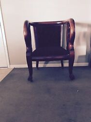Antique Queen Anne Accent Chair Mahoganywood Red Velvet Upholstery