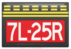 Runway Hold Short Sign 7l-25r Aviation Themed Fridge Magnet By Luso Aviation