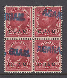 Guam Sc 6 Used. 1899 6c Lake With Blue Agana Guam Cancels Block Of 4 Cert