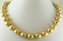 South Sea Golden 12mm X 12.7mm Baroque Pearl Necklace 14k Yellow Gold